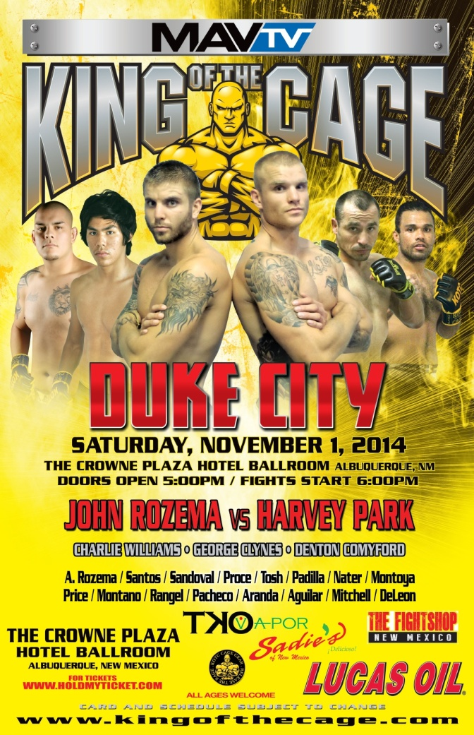 "King of the Cage ""DUKE CITY"" Quick Results"